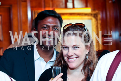 Peter Cherukuri and Emily Lenzner. Photo by Tony Powell. Huffington Post Inaugural Parade Watch Celebration. Old Ebbitt Grill. January 21, 2013