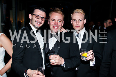 "Stephane Courret, Chad Damein, Taylor Toland. Photo by Tony Powell. HRC Inaugural Ball ""Out for Equality."" Mayflower Hotel. January 21, 2013"