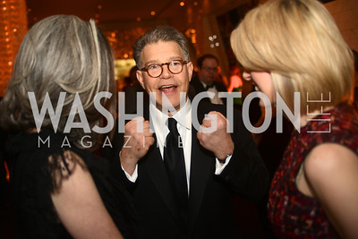 Penny Lee, Heather Podesta, Senator Al Franken,  Artists Making an IMPACT , Inauguration Dinner, OYA Restaurant and lounge. Photo by Ben Droz.