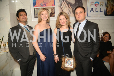 Adam Khan, Anna Palmer, Marissa Mitrovich, Tory Newmyer,  Artists Making an IMPACT , Inauguration Dinner, OYA Restaurant and lounge. Photo by Ben Droz.