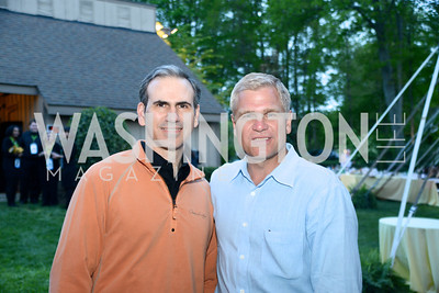 Christopher Jordan, Rick Peterson, Annual 'Life with Cancer' Lobster Extravaganza, at the home of Milton Peterson.  Saturday May 4, 2013.  Photo by Ben Droz.