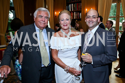 Roland and Diane Flamini, Michael Solomon. Photo by Tony Powell. 2013 Belgium National Day Celebration at the residence of the Belgian Ambassador. July 18, 2013