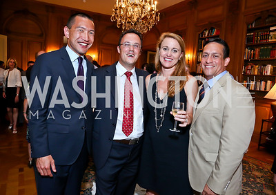 Joris Totte, Benjamin Wang, Lisa and Dave Diaz. Photo by Tony Powell. 2013 Belgium National Day Celebration at the residence of the Belgian Ambassador. July 18, 2013