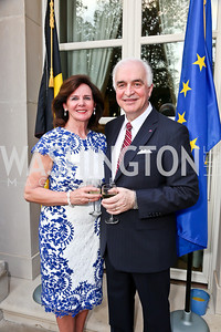 Agnes Aerts and Belgian Amb. Jan Matthysen. Photo by Tony Powell. 2013 Belgium National Day Celebration at the residence of the Belgian Ambassador. July 18, 2013