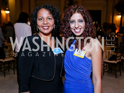 IPS Associate Director Joy Zarembka, Filmmaker and former IPS fellow Farrah Hassem. Photo by Tony Powell. Institute for Policy Studies' 50th Anniversary Gala. Union Station. October 13, 2013