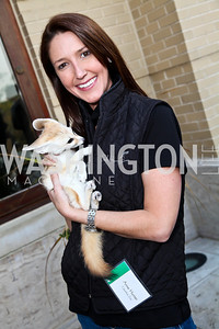 Anne Hunter with fennec fox, Fiona. Photo by Tony Powell. Kimsey National Zoo Dinner. Kimsey residence. April 17, 2013