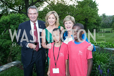 Sen. John Breaux, Chris Evert, Cai Balmoris, Lois Breaux, Hameed Nelson. Photo by Alfredo Flores. Junior Tennis Champions Center Celebration. Residence of the Swedish Ambassador. May 15, 2013