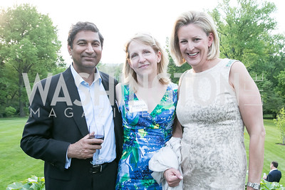 Sudhir Rajkumar, Rebecca Hanson, Liz Legg. Photo by Alfredo Flores. Junior Tennis Champions Center Celebration. Residence of the Swedish Ambassador. May 15, 2013