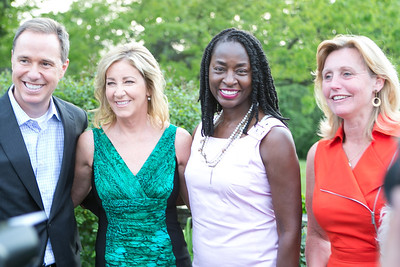 Jim Handly, Chris Evert, Rynthia Rost, Eva Hafstrom. Photo by Alfredo Flores. Junior Tennis Champions Center Celebration. Residence of the Swedish Ambassador. May 15, 2013