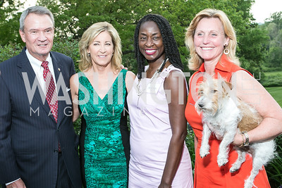 Sen. John Breaux, Chris Evert, Rynthia Rost, Eva Hafstrom. Photo by Alfredo Flores. Junior Tennis Champions Center Celebration. Residence of the Swedish Ambassador. May 15, 2013