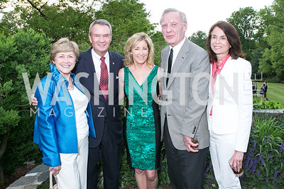 Lois Breaux, Sen. John Breaux, Chris Evert, Jerry Jasinowski, Isabel Jasinowski. Photo by Alfredo Flores. Junior Tennis Champions Center Celebration. Residence of the Swedish Ambassador. May 15, 2013