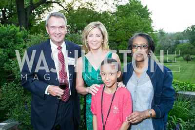 Sen. John Breaux, Chris Evert, Cai Balmoris,  Lorraine Taylor. Photo by Alfredo Flores. Junior Tennis Champions Center Celebration. Residence of the Swedish Ambassador. May 15, 2013