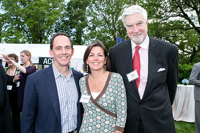 Hunter Johnston, Stephanie Johnston, Tom McMillen. Photo by Alfredo Flores. Junior Tennis Champions Center Celebration. Residence of the Swedish Ambassador. May 15, 2013