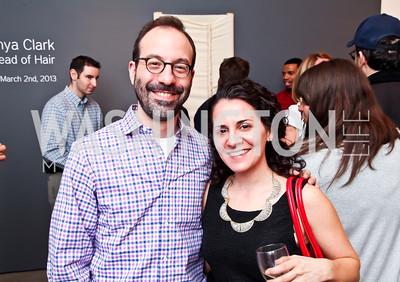 "Warren Bass, Rebecca Frankel. Photo by Tony Powell. Karin Tanabe ""The List"" book party. Showroom 1412. February 28, 2013"