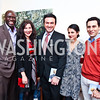 """Ebong Eka, Kristin Guiter, Michael Woestehoff, Hastie Afkhami, Chris Boutlier.  Photo by Tony Powell. Karin Tanabe """"The List"""" book party. Showroom 1412. February 28, 2013"""
