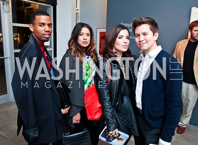 "Dwayne Brice, Melissa Wiggins, Aureta Thomollari, Teddy Kim. Photo by Tony Powell. Karin Tanabe ""The List"" book party. Showroom 1412. February 28, 2013"