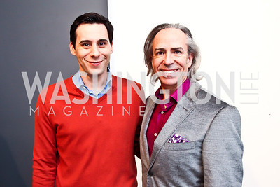 "Chris Boutlier, Ernesto Santalla. Photo by Tony Powell. Karin Tanabe ""The List"" book party. Showroom 1412. February 28, 2013"
