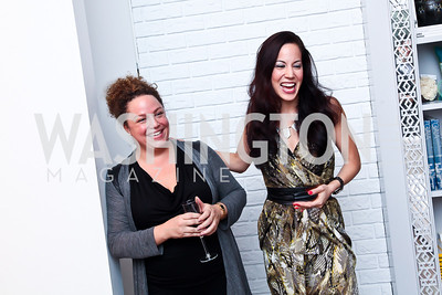 "Lauren Gentile, Karin Tanabe. Photo by Tony Powell. Karin Tanabe ""The List"" book party. Showroom 1412. February 28, 2013"