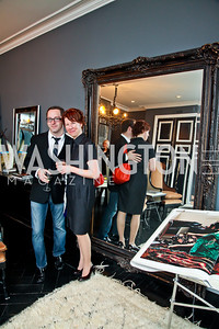 "Jay Westcott, Emily Greene. Photo by Tony Powell. Karin Tanabe ""The List"" book party. Showroom 1412. February 28, 2013"