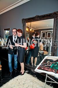"""Jay Westcott, Emily Greene. Photo by Tony Powell. Karin Tanabe """"The List"""" book party. Showroom 1412. February 28, 2013"""