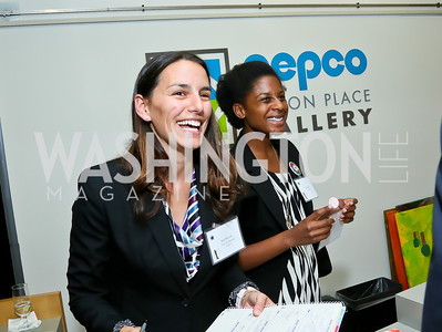 "Kita McCord, Tiffani Ross. Photo by Tony Powell. ""Courage on Canvas"" Exhibit Opening. Pepco Edison Place Gallery. October 2, 2013"