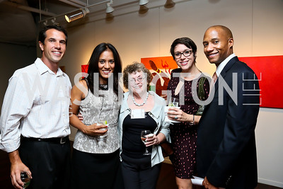 "Nick Vilelle, Danielle Reyes, Kathy Freshley, Rachel Wimberley, Damon White. Photo by Tony Powell. ""Courage on Canvas"" Exhibit Opening. Pepco Edison Place Gallery. October 2, 2013"