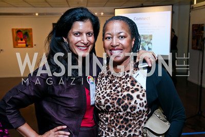 "Mohini Malhotra, Cynthia Robbins. Photo by Tony Powell. ""Courage on Canvas"" Exhibit Opening. Pepco Edison Place Gallery. October 2, 2013"