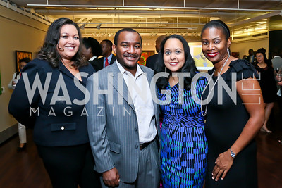 "Camelia Mazard, Malik and Narda Edwards, Vanessa Perry. Photo by Tony Powell. ""Courage on Canvas"" Exhibit Opening. Pepco Edison Place Gallery. October 2, 2013"