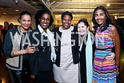 "Pepco VP Debbi Jarvis, LPTM Exec. Dir. Mary Brown,  Chancellor of DC Public Schools Kaya Henderson, Judith Terra, Ben's Chili Bowl's Sonya Ali. Photo by Tony Powell. ""Courage on Canvas"" Exhibit Opening. Pepco Edison Place Gallery.JPG"