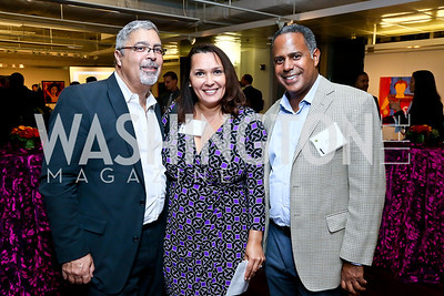 "Rod Palmer, Candice Mitchell, Chip Ellis. Photo by Tony Powell. ""Courage on Canvas"" Exhibit Opening. Pepco Edison Place Gallery. October 2, 2013"