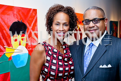 "Erika Martin, A. Scott Bolden. Photo by Tony Powell. ""Courage on Canvas"" Exhibit Opening. Pepco Edison Place Gallery. October 2, 2013"