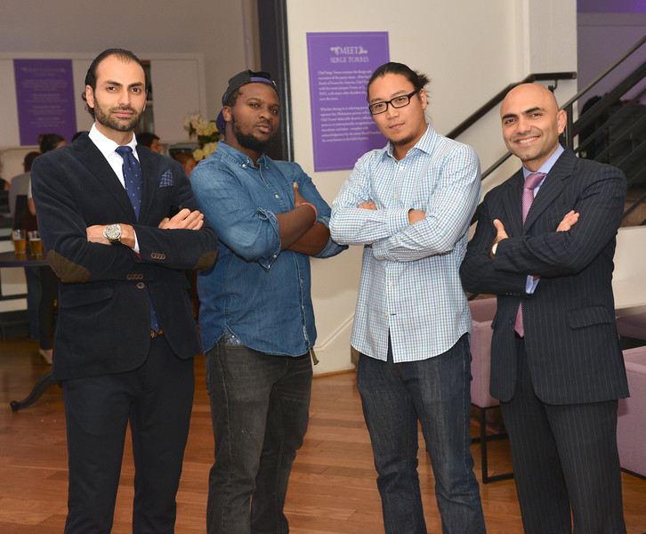 Omar Popal, Brandon Hill, Peter Chang, Mustafa Popal, Malmaison Restaurant, part of the opens in Georgetown.  October 15, 2013.  Photo by Ben Droz.