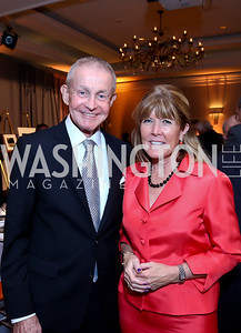 Emcee Bill Plante, Ginny Grenham. Photo by Tony Powell. Marie Curie Charity Gala 2013. Ritz Carlton. October 29, 2013