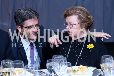 French Amb. Francois Delattre, Senator Barbara Mikulski. Photo by Tony Powell. Marie Curie Charity Gala 2013. Ritz Carlton. October 29, 2013
