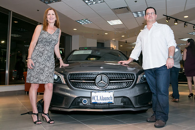 Kathleen Benway, David Smutny. Photo by Alfredo Flores. Mercedes-Benz CLA Launch. Mercedes-Benz of Arlington. October 3, 2013.