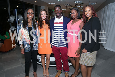 Ashley Pittman, Dominique Dupras, Josh Morgan, Angela Kasey, Thomasina Perkins-Washington. Photo by Alfredo Flores. Mercedes-Benz CLA Launch. Mercedes-Benz of Arlington. October 3, 2013.