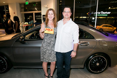Kathleen Benway, David Smutny. Photo by Alfredo Flores. Mercedes-Benz CLA Launch. Mercedes-Benz of Arlington. October 3, 2013