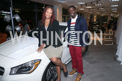 Thomasina Perkins-Washington, Josh Morgan. Photo by Alfredo Flores. Mercedes-Benz CLA Launch. Mercedes-Benz of Arlington. October 3, 2013.