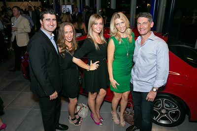 Garrett O'Shea, Brynna McCosker, Amber Vick, Molly Brady, Steve O'Shea. Photo by Alfredo Flores. Mercedes-Benz CLA Launch. Mercedes-Benz of Arlington. October 3, 2013.