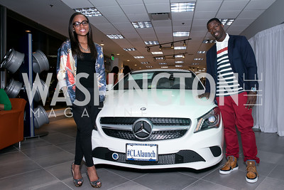 Ashley Pittman, Josh Morgan. Photo by Alfredo Flores. Mercedes-Benz CLA Launch. Mercedes-Benz of Arlington. October 3, 2013.