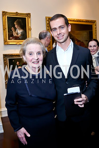 NDI Board Chair Madeleine Albright, Twitter Co-founder Jack Dorsey. Photo by Tony Powell. 2013 NDI Democracy Dinner. Ritz Carlton. December 10, 2013