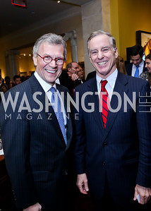 FMR Sen. Tom Daschle, FMR Gov. Howard Dean. Photo by Tony Powell. 2013 NDI Democracy Dinner. Ritz Carlton. December 10, 2013