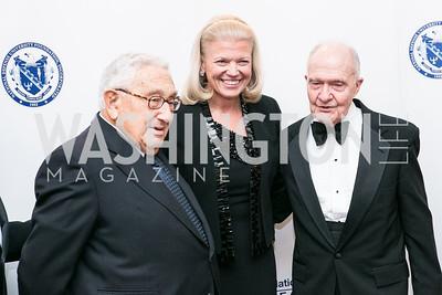 Henry Kissinger, IBM CEO Ginni Rommetty, Brent Scowcroft. National Defense University Foundation Awards. Photo by Alfredo Flores. Ritz-Carlton Hotel. March 13, 2013.