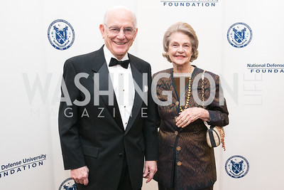 J. Bennett Johnston, Mary Johnson. National Defense University Foundation Awards. Photo by Alfredo Flores. Ritz-Carlton Hotel. March 13, 2013.