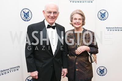 J. Bennett Johnston, Mary Johnson. National Defense University Foundation Awards. Photo by Alfredo Flores. Ritz-Carlton Hotel. March 13, 2013.