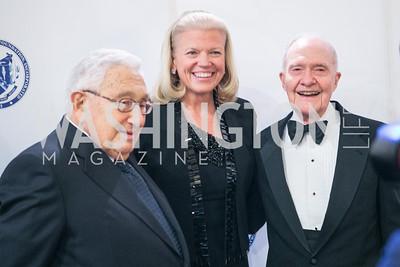 Henry Kissinger, Ginni Rommetty, Brent Scowcroft. National Defense University Foundation Awards. Photo by Alfredo Flores. Ritz-Carlton Hotel. March 13, 2013.