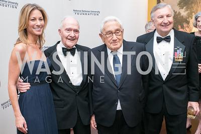 Cathleen Pearl, Lt. Gen. Brent Scowcroft, Henry Kissinger, Al Zimmerman. National Defense University Foundation Awards. Photo by Alfredo Flores. Ritz-Carlton Hotel. March 13, 2013.