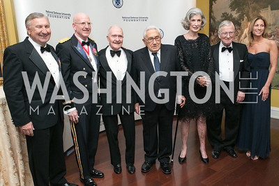 Al Zimmerman, Gregg Martin, Brent Scowcroft, Henry Kissinger, Nancy Kissinger, Amb. Walter Stadler, Cathleen Pearl . National Defense University Foundation Awards. Photo by Alfredo Flores. Ritz-Carlton Hotel. March 13, 2013.