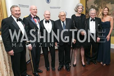 Al Zimmerman, Gregg Martin, Brent Scowcroft, Henry Kissinger, Nancy Kissinger, Amb. Walter Stadler, Cathleen Pearl . National Defense University Foundation Awards. Photo by Alfredo Flores. Ritz-Carlton Hotel. March 13, 2013.