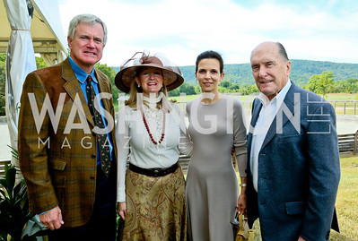 Tim and Michelle Brookshire, Luciana Pedraza and Robert Duvall. Photo by Tony Powell. NSLM 2013 Benefit Polo Match and Luncheon. Llangollen Estate. September 15, 2013